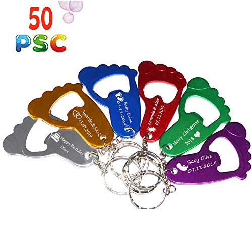 50pcs Personalized Engraved Bottle Openers Foot Shaped Key Chain Shower Favor 1st Birthday Gifts for Guest,Party Favors Gift Private Customized