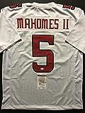 Autographed/Signed Patrick Mahomes Texas Tech White College Football Jersey JSA COA