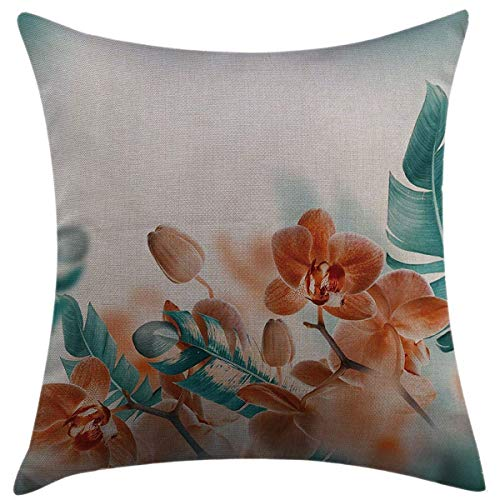 (Mugod Decorative Throw Pillow Cover for Couch Sofa Home Decor,Tropical Orchids Blossom Leaves on Blurred Background Floral Themed Modern Artwork Orange Teal Pillow case 18x18 Inch)