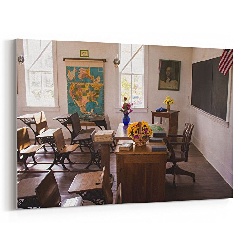 (Westlake Art - Desk Schoolhouse - 12x18 Canvas Print Wall Art - Canvas Stretched Gallery Wrap Modern Picture Photography Artwork - Ready to Hang 12x18 Inch (FE90-189F4))