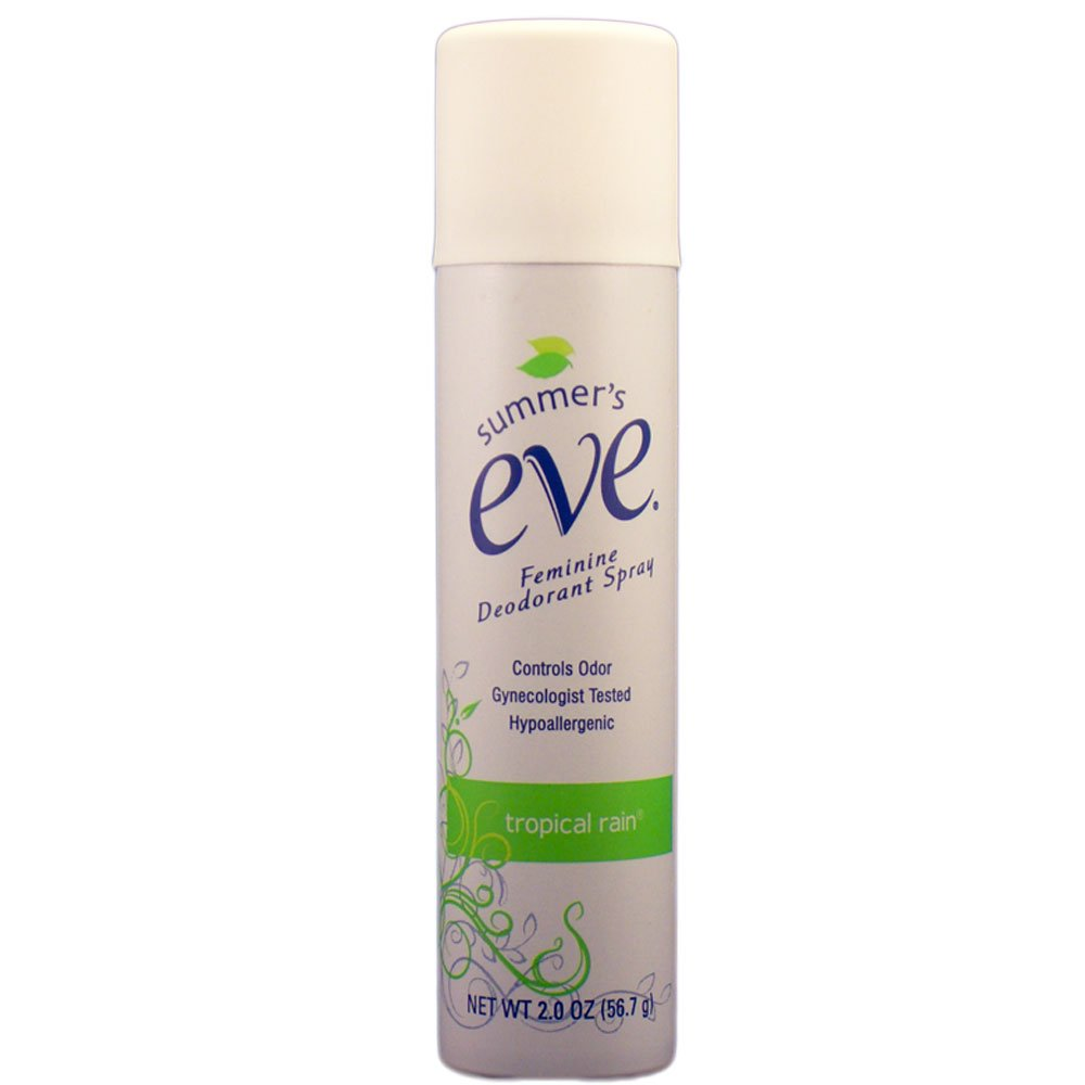 Summer's Eve Feminine Deodorant Spray, Tropical Rain Scent, 2 Oz (Lot of 4)