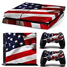 Ps4 Playstation 4 Console Skin Decal Sticker USA Flag + 2 Controller Skins Set
