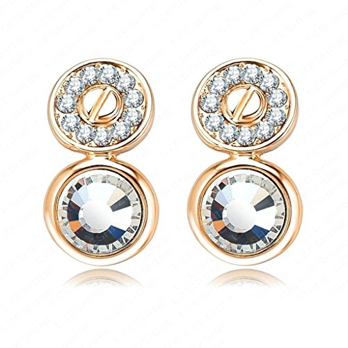 1929 Costume Jewelry (18K Gold Plated Womens Girls Stud Earrings Double Round 1929mm Gold - Aooaz Jewelry)
