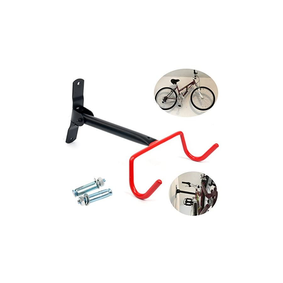 YaeTek Bike Wall Mount Rack Storage Hanger Foldable Bicycle Holder Hook Folding Space Saver with Mounting Hardware for Garage to Dorm Room Good for Sport, Mountain, or Cruiser Bikes Under 60 lbs
