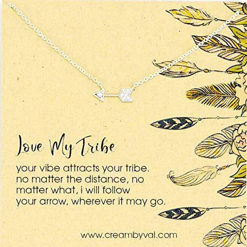 (Love My Tribe Diamond Arrow Sterling Silver Necklace - 17'' Length)
