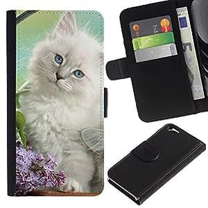 Stuss Case / Funda Carcasa PU de Cuero - White Spring Kitten Angora Siberian Cat - Apple Iphone 6