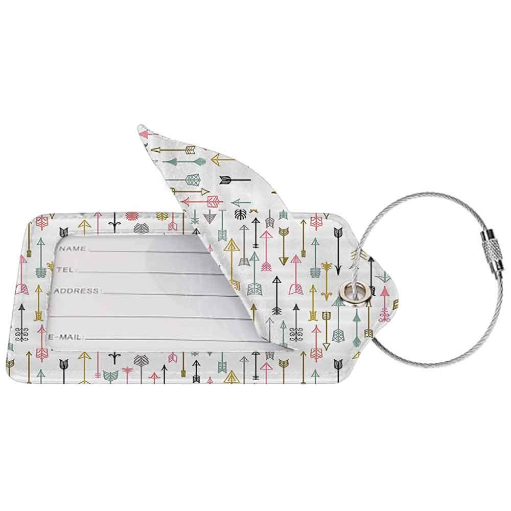 Personalized luggage tag Arrow Decor Collection Colorful Arrows Pattern Native American Style Art Easy to carry Pink Mustard White Black W2.7 x L4.6