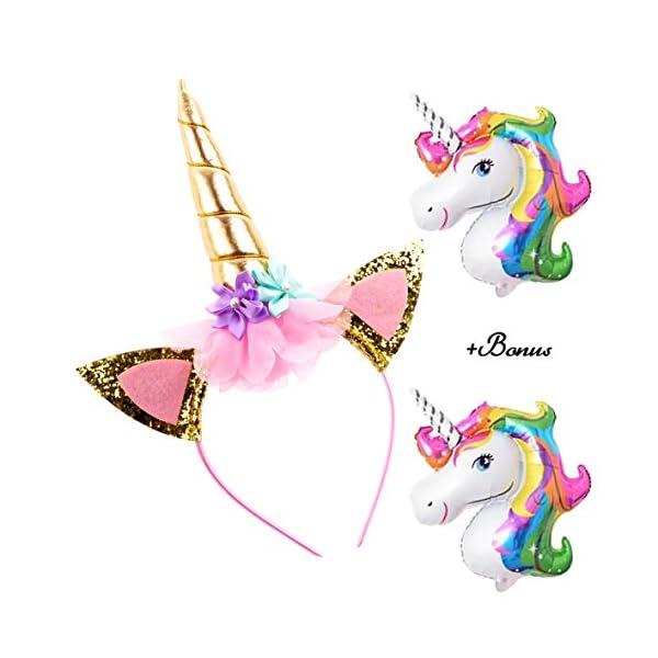 DaisyFormals Unicorn Headband Gold Unicorn Horn Flowers Headband for Girls Adults Birthday Outfit, Halloween Costume… 3