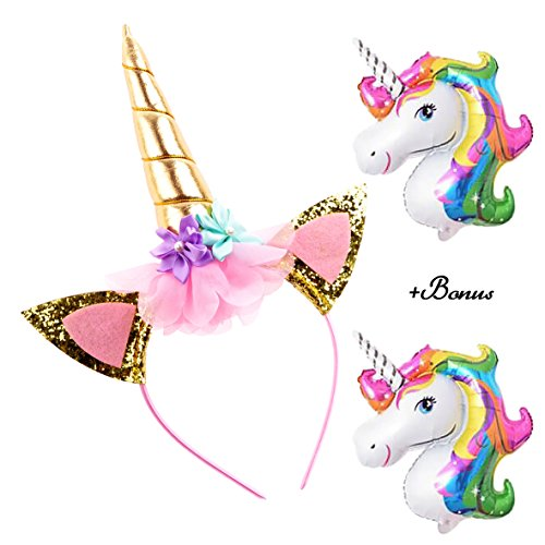DaisyFormals Unicorn Headband Gold Shiny Unicorn Birthday Flower Headband for Girls Adults Halloween Costume, Christmas Unicorn Party + 2 Free Unicorn Ballons