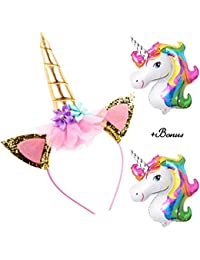 Unicorn Headband Gold Horn for Girls Birthday + 2 Unicorn Balloons