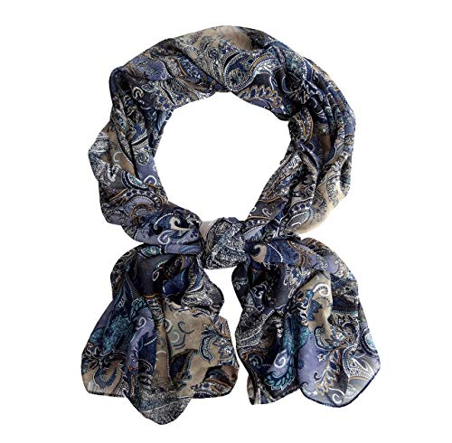 - Grey Purple Paisley Wide Long Chiffon Scarf for Women Evening Wrap Formal Shawl Cocktail Lightweight Stoles Valentine's Mother's day 78