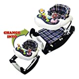 Big Oshi 3 in 1 Baby Walker, Rocker & Activity Center on Wheels - Convertible Walker to Rocker with Tray Table Baby Activity Center with Toys - Adjustable Seat, Boys - Plaid/Flannel
