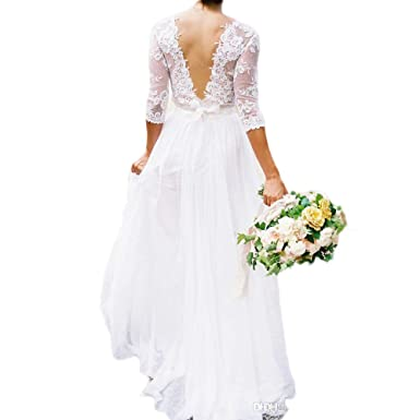 Vicokity Simple Bohemian Counrtry Wedding Dresses Half Sleeves Lace ...