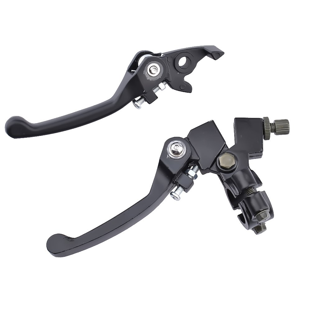 Minireen Folding 7/8 Clutch Lever with Perch with Brake Lever Set for 110 125cc 22mm Handble Bar Dirt Pit Bike ATV Quad Go Kart