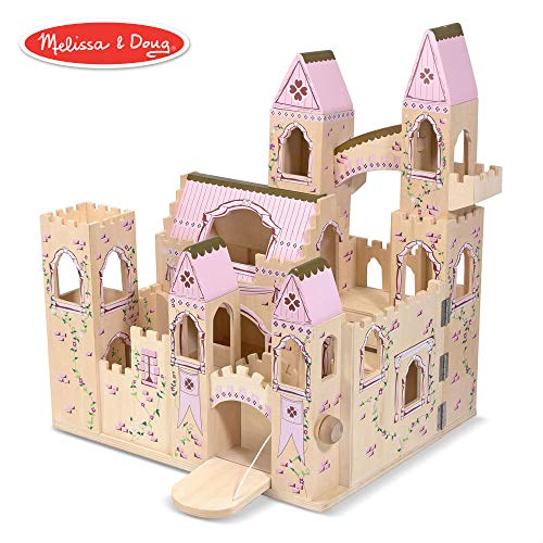 Melissa & Doug Folding Princess Castle Wooden Dollhouse (Pretend Play Set, Drawbridge and Turrets, Sturdy Construction, 27