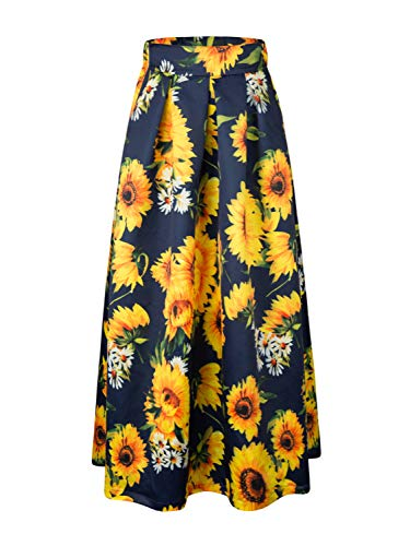 Women's Casual Sunflower Floral Elastic Band Plus Size Maxi Skirt 3X