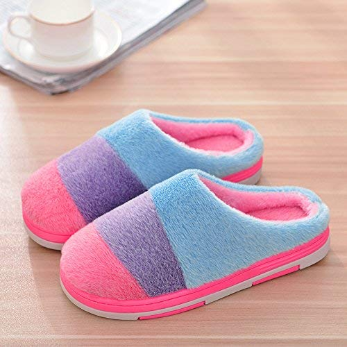 2 Lady Slippers Womens Autumn Winter Lady Cotton Slippers Stripe Patchwork color Warm Slip-Proof Shock-Absorbing Casual Daily Stylish Ladies Home Slippers