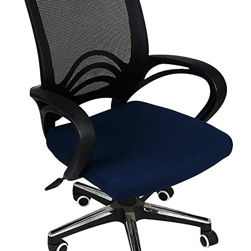 - Homaxy Premium Jacquard Office Computer Chair Seat Cover, Spandex Stretch Desk Chair Seat Cushion Covers, Durable Protectors, Navy Blue Slipcover