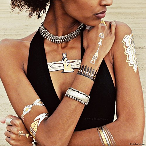 WILD CHILD BUNDLE from Flash Tattoos includes the Child of Wild pack (4-sheets) and Desert Dweller pack (4-sheets) over 70 premium festival inspired waterproof metallic temporary jewelry tattoos by Flash Tattoos (Image #8)
