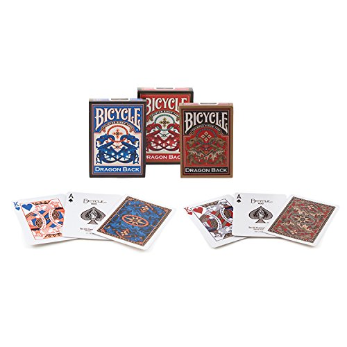 Bicycle Dragon Back Playing Cards (Pack of 3), Blue/Red/Gold
