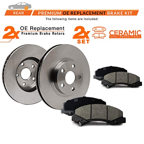 4 Ceramic Brake Pads Brake Disc Rotors + Hardware 2 FRONT 320 mm Premium OE 5 Lug