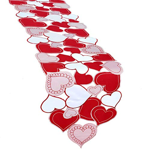 Simhomsen Embroidered Love Heart Table Runner for Valentine's Day, Mother's Day, Wedding Anniversary, Marriage Proposals, Engagements, Romantic Events or Parties (13.5 × 108 inches)