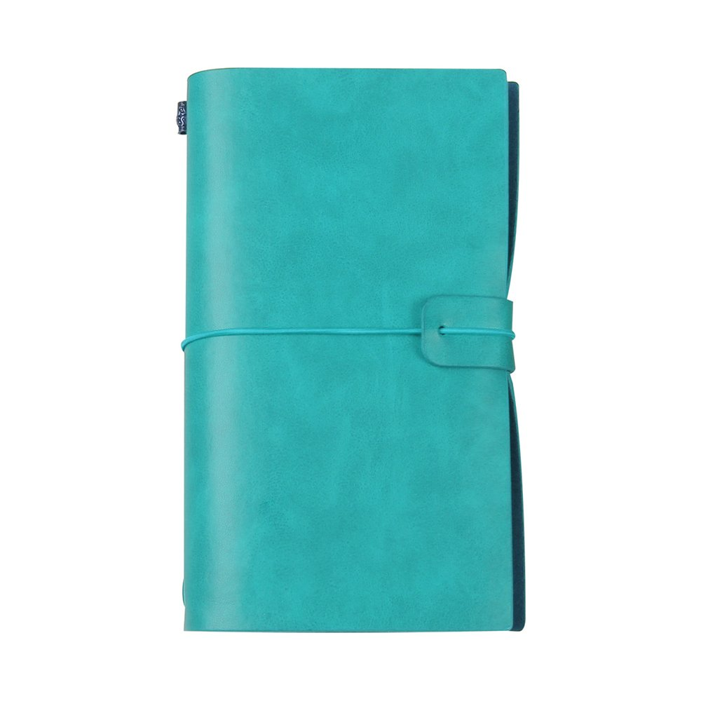 CYOS Travel Journals To Write In For Women Fashion Faux Leather Light Blue Journal Book With Closure With Card Pockets Thread Stitching Diary Gift (Blue)
