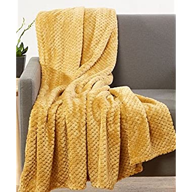 Luxurious Softness Extra Comfy Velvet Throw Blanket, 50x60 (Mustard)
