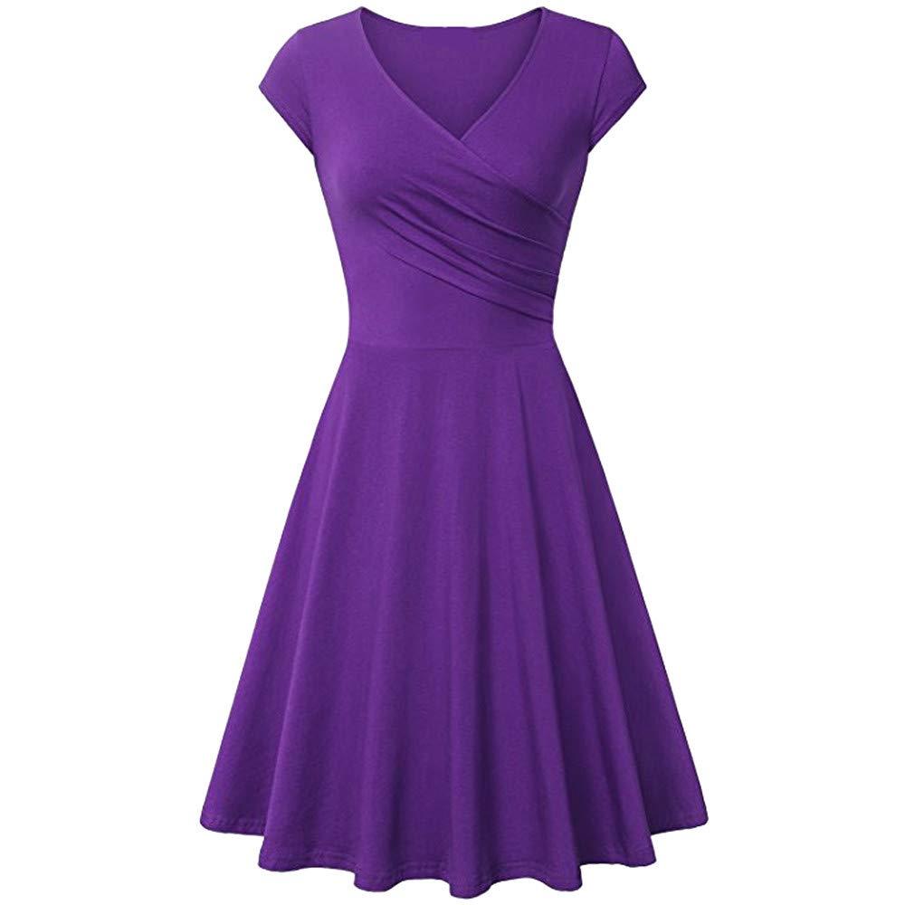 Ulanda Womens Elegant Dresses Cross Wrap V Neck Cap Sleeve A Line Dress Simple Chic Evening Party Dress Purple