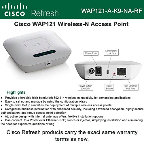 Cisco WAP121 Refresh Wireless-N AP 300Mbps 11b/g/n PoE internal antenna by CISCO SYSTEMS - ENTERPRISE