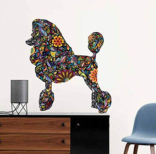 (sasdasld Standard Poodle Dog Wall Sticker Floral Animals Decals Adhesive Wallpaper for Living Room Decorative Art Removable PVC Murals )