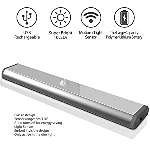 Motion Sensor Cabinet Led Light, USB Rechargeable 3 Modes Switch(G,ON and OFF) Magnetic Stick On Anywhere Outdoor Portable Night Light Lamp Bulb Lighting Bar for Closet Wardrobe (1 Pack 10LED, Silver)