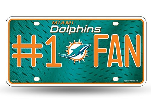 NFL Miami Dolphins #1 Fan Metal Auto Tag Logo License Plate Nfl Football