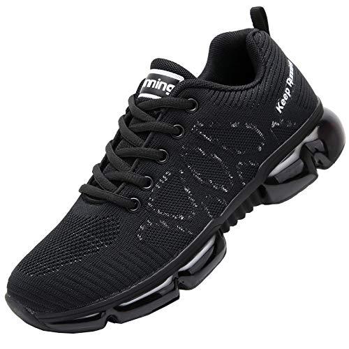 QAUPPE Women's Memory Foam Air Running Shoes Comfortable Cross Trainer Gym Sports Flyknit Tennis Fashion Sneakers Black US 10 B(M)