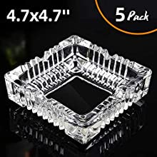 KUCEMO Ashtray 5 Pack, Glass Square Ashtrays for Cigarettes, Cigar Glass Ashtray for Restaurant Outdoor Home Decoration (4.7 x 4.7inch)