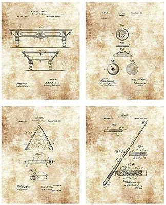 Mesa de Billar, Palo de Billar, Bola de Juego y Bolas Dibujo de Marco – Set de 4 8 x 10 sin Marco Patent Prints – Gran Regalo para Jugadores de Piscina,