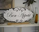Adonis554Dan BON APPETIT French Kitchen Signs Shabby Vintage Style 14 x 7