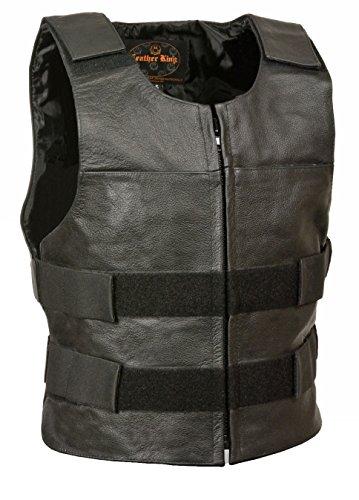 Bullet Jacket (Mens Leather Zip Front Replica Bullet Proof Vest)