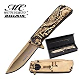 Master Cutlery MC-029GD-MC Master Collection Ti-Coated/Laser Blade Folding Knife, Gold Review