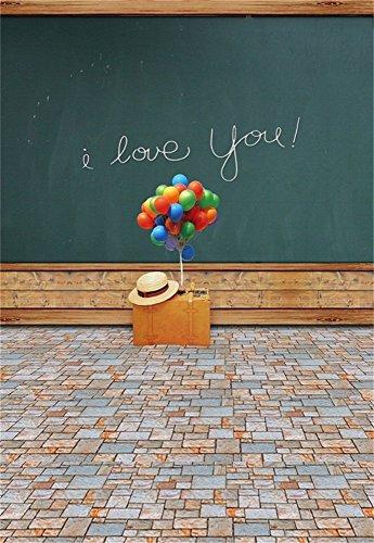 Leowefowa 3x5FT I Love You Happy Valentine's Day Background Vinyl Suitcase Balloons Straw Hat Blackboard Shabby Brick Floor Back to School Photography Backdrop Sweet Girls Boys Photo Studio Props from Leowefowa