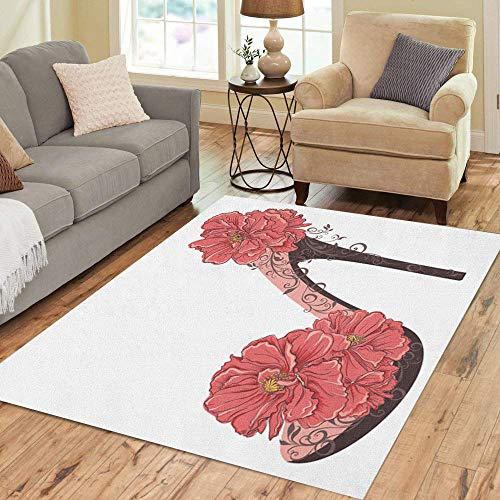 Semtomn Area Rug 5' X 7' Floral High Heels Vintage Shoes Flowers Abstract Beautiful Beauty Home Decor Collection Floor Rugs Carpet for Living Room Bedroom Dining Room