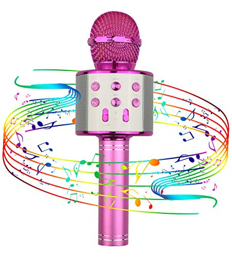 Viposoon Popular Toys for 4-12 Year Old Girls, Wireless Bluetooth Microphone for Kids Music Toy for 5-11 Year Old Kids Girl Party Gift Age 4-12 Girl