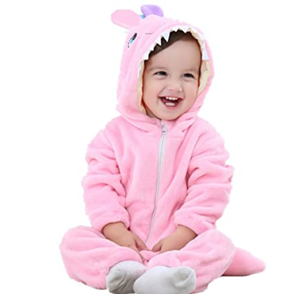 e26428c7945e KKIING Halloween Baby Flannel Animal Rompers Cosplay Costume,Boys Girls  Hooded Jumpsuit Infant Winter Outfits