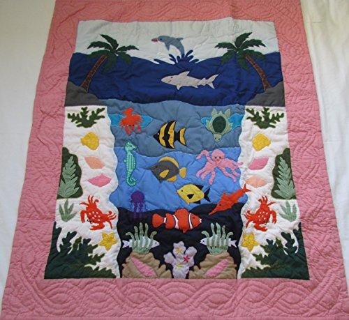 Hawaiian Style quilt Under the Sea crib baby comforter blanket hand quilted/wall (Hawaiian Baby Crib Bedding)