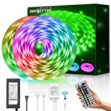 DAYBETTER Led Strip Lights Waterproof 600leds 32.8ft 10m Flexible Color Change RGB SMD 5050 with 44 Keys IR Remote Controller and 12V Power Supply for bedroomHome, Bedroom, Kitchen DIY Decoration: more info