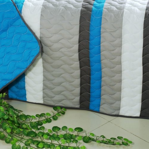 [Health Life] 3PC Vermicelli-Quilted Striped Quilt Set (Full/Queen Size) by Onitiva Quilt (Image #4)'