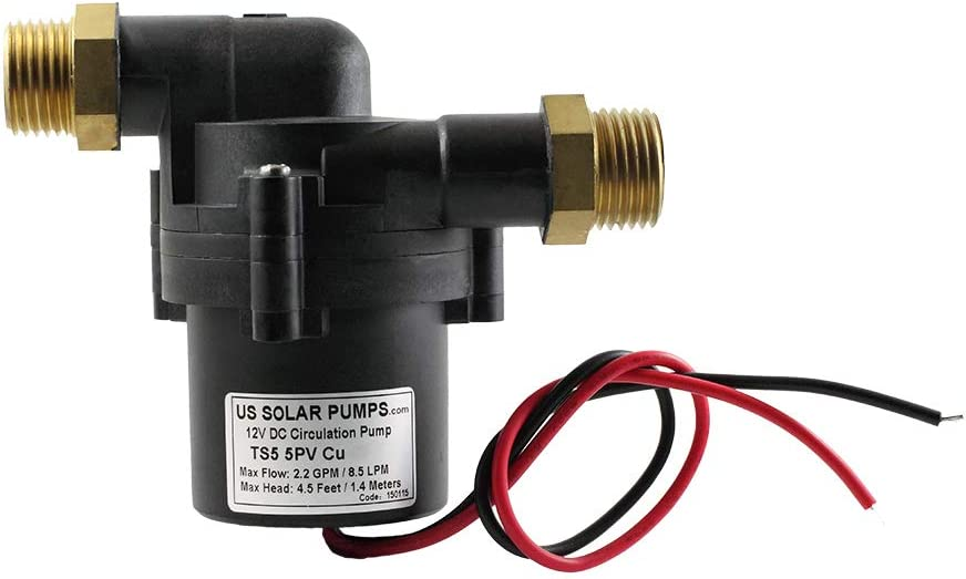 TOPSFLO TS5 5PV (CU-BSP) 12 Volt Water Pump/DC Solar Pump/Solar Circulator Pump