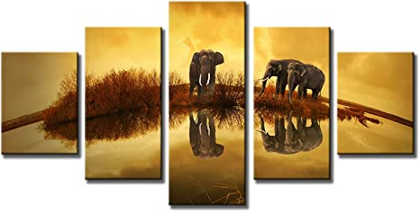Modern Canvas Wall Art African Forest Sunset Elephant Family Around Lake Landscape Oil Painting Print On Canvas Framed And Stretched For Living Room Home Decor M Posters Prints
