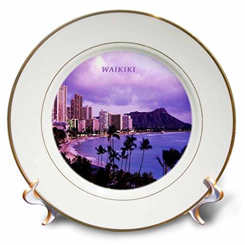 3dRose cp_62011_1 City of Waikiki Hawaii Porcelain Plate, 8-Inch