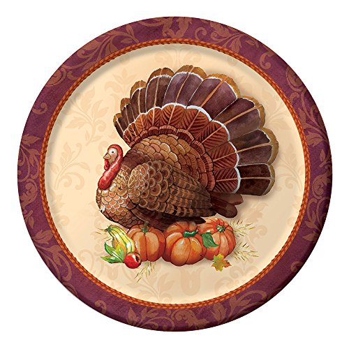 Creative Converting 96-Count Thanksgiving Elegance Paper Dinner Plates, Made in the USA (Paper Plates Thanksgiving)
